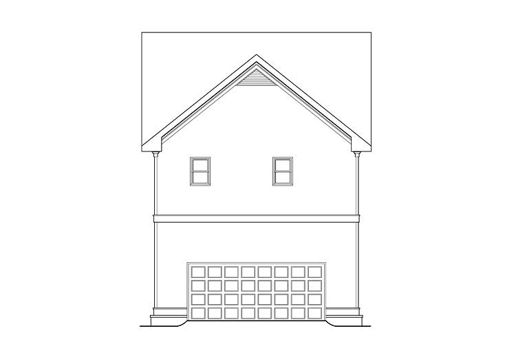 Craftsman Traditional Rear Elevation of Plan 75323