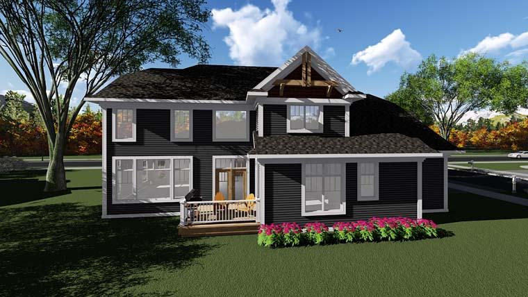 Cottage Craftsman House Plan 75400 Rear Elevation