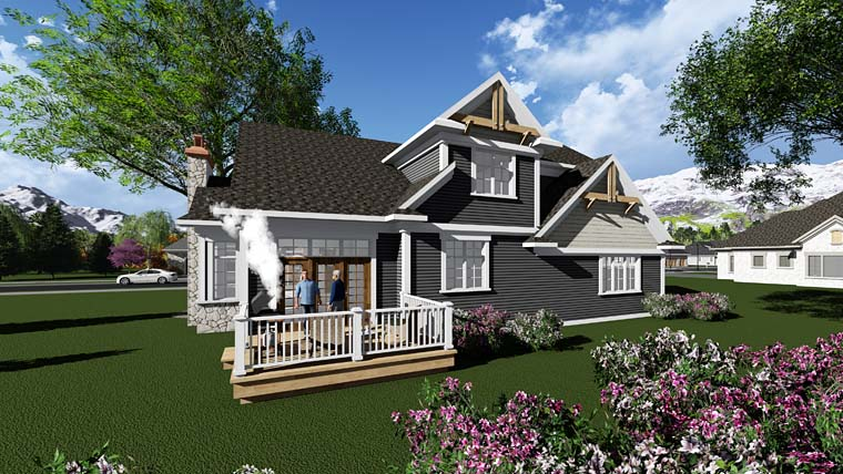 Cottage Country Craftsman House Plan 75401 Rear Elevation