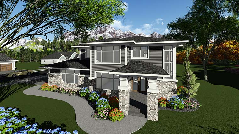 Contemporary, Prairie, Southwest House Plan 75404 with 3 Beds, 3 Baths, 2 Car Garage Elevation