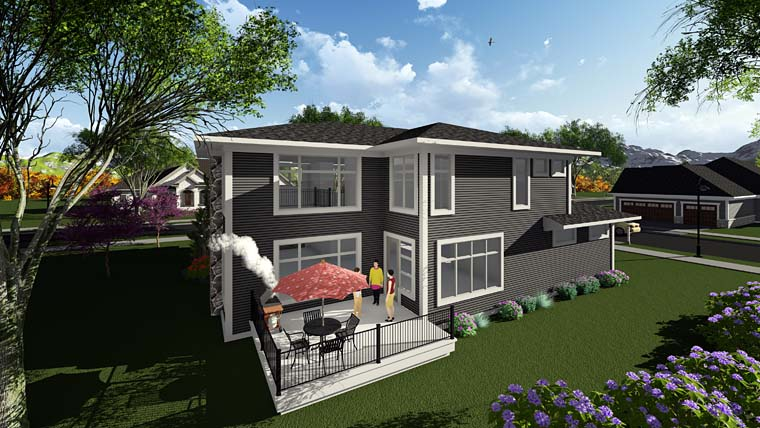 Contemporary, Prairie, Southwest House Plan 75404 with 3 Beds, 3 Baths, 2 Car Garage Rear Elevation