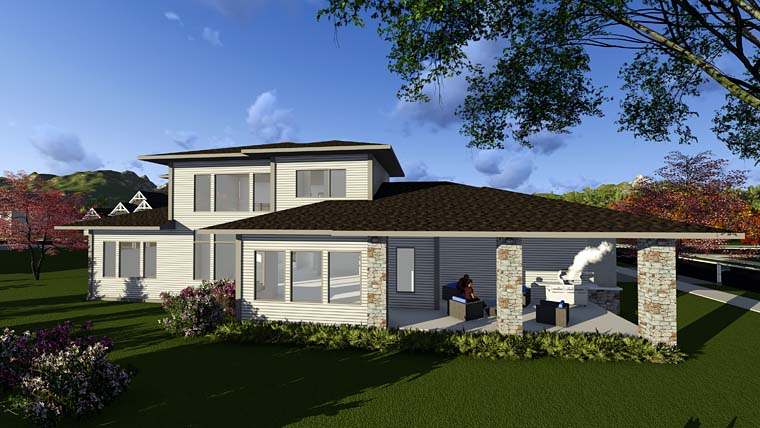 Contemporary Prairie Style Southwest House Plan 75405 Rear Elevation