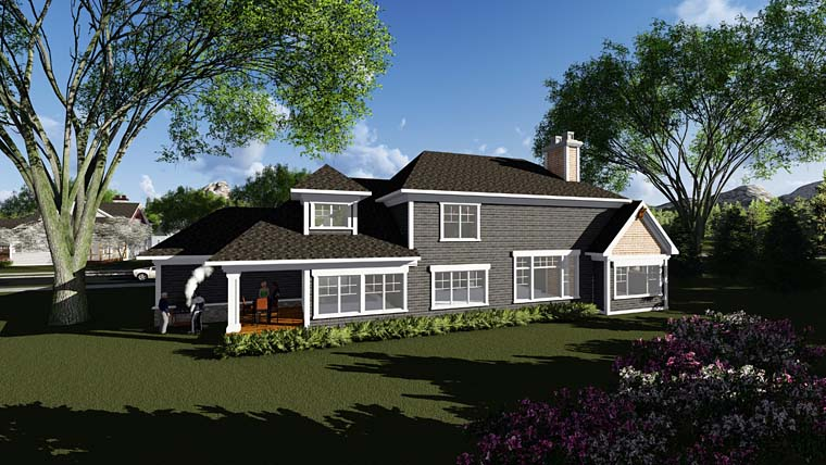 Craftsman Farmhouse Southern Traditional House Plan 75406 Rear Elevation
