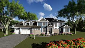 Traditional House Plan 75407 with 4 Beds, 4 Baths, 3 Car Garage Elevation