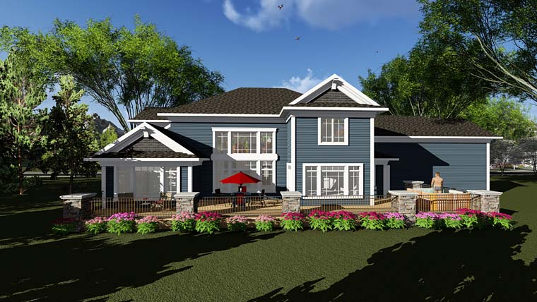 Traditional House Plan 75407 Rear Elevation