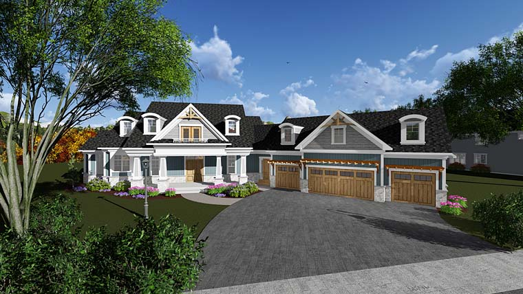 Bungalow , Cottage , Craftsman , Traditional House Plan 75408 with 4 Beds, 5 Baths, 4 Car Garage Elevation