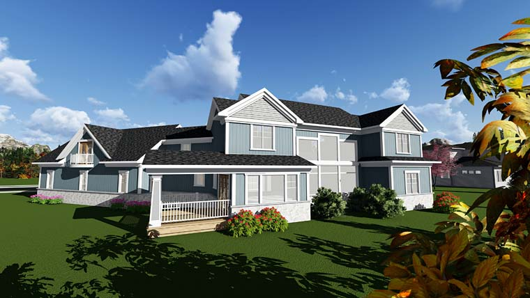 Bungalow , Cottage , Craftsman , Traditional House Plan 75408 with 4 Beds, 5 Baths, 4 Car Garage Rear Elevation