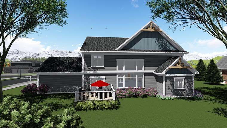Craftsman Traditional House Plan 75409 Rear Elevation
