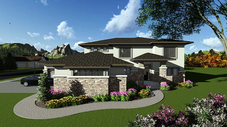 Contemporary, Prairie, Southwest House Plan 75410 with 5 Beds, 5 Baths, 4 Car Garage Elevation