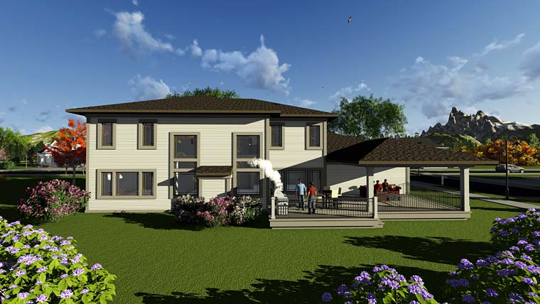 Contemporary, Prairie, Southwest House Plan 75410 with 5 Beds, 5 Baths, 4 Car Garage Rear Elevation