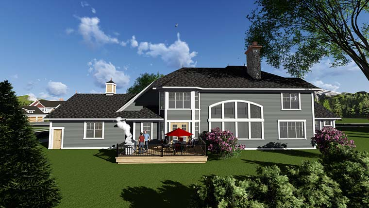 Craftsman Traditional House Plan 75415 Rear Elevation