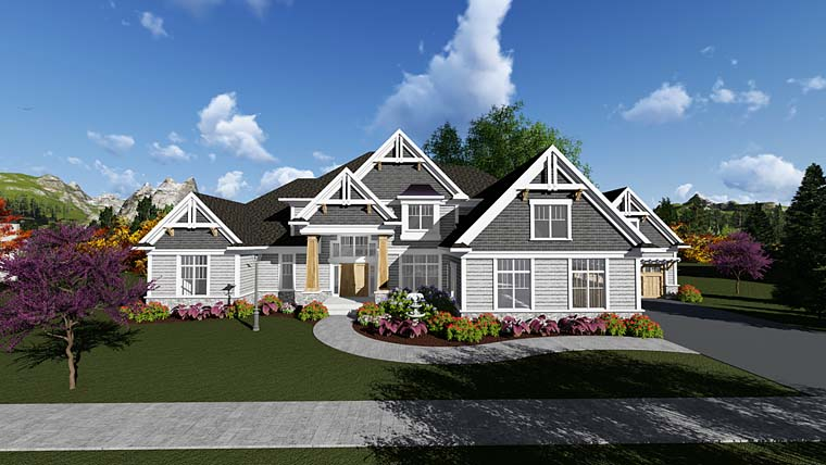 Craftsman, Traditional House Plan 75417 with 4 Beds, 4 Baths, 4 Car Garage Front Elevation