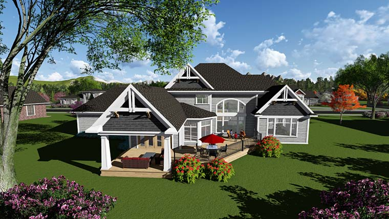 Craftsman, Traditional House Plan 75417 with 4 Beds, 4 Baths, 4 Car Garage Rear Elevation