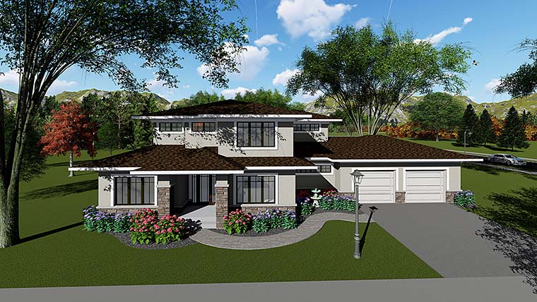 Southwest , Prairie Style , Contemporary House Plan 75418 with 4 Beds, 3 Baths, 2 Car Garage Elevation