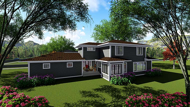 Southwest , Prairie Style , Contemporary House Plan 75418 with 4 Beds, 3 Baths, 2 Car Garage Rear Elevation