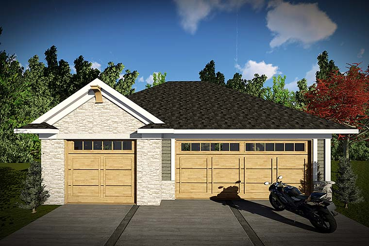 Craftsman, Traditional 3 Car Garage Plan 75421 Elevation