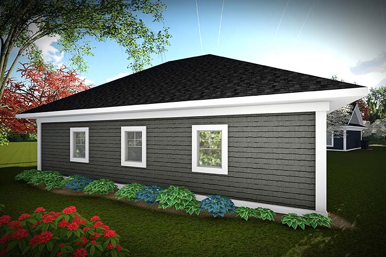 Craftsman, Traditional 3 Car Garage Plan 75421 Rear Elevation
