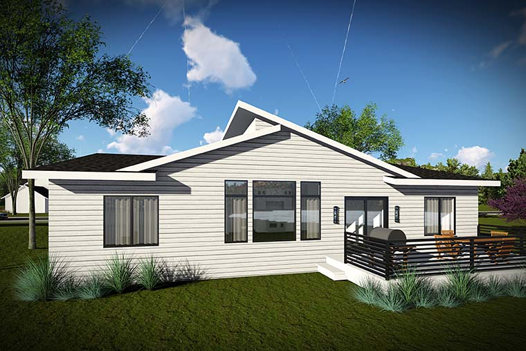 Contemporary Ranch House Plan 75426 Rear Elevation