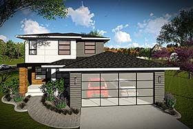 Contemporary , Modern House Plan 75427 with 3 Beds, 3 Baths, 2 Car Garage Elevation