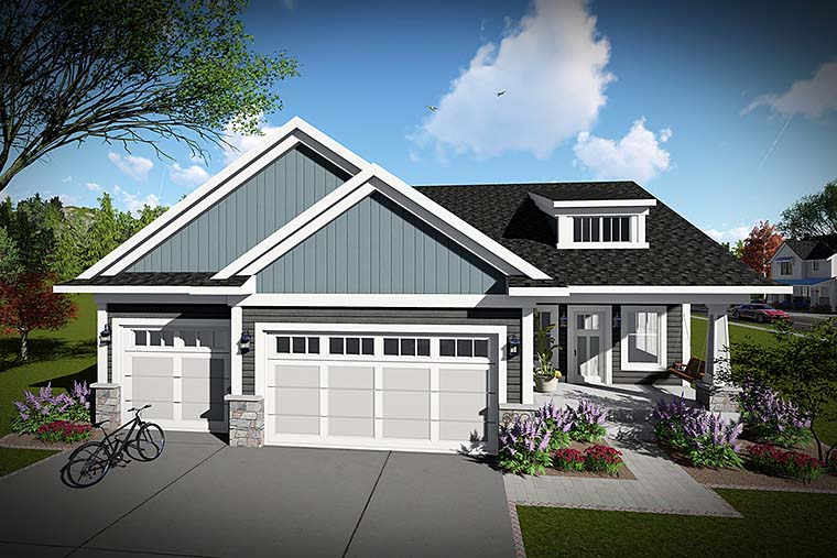 Cottage Country Craftsman Ranch House Plan 75428 Elevation
