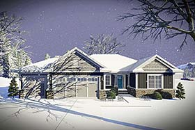 Cottage Craftsman Ranch Traditional House Plan 75429 Elevation