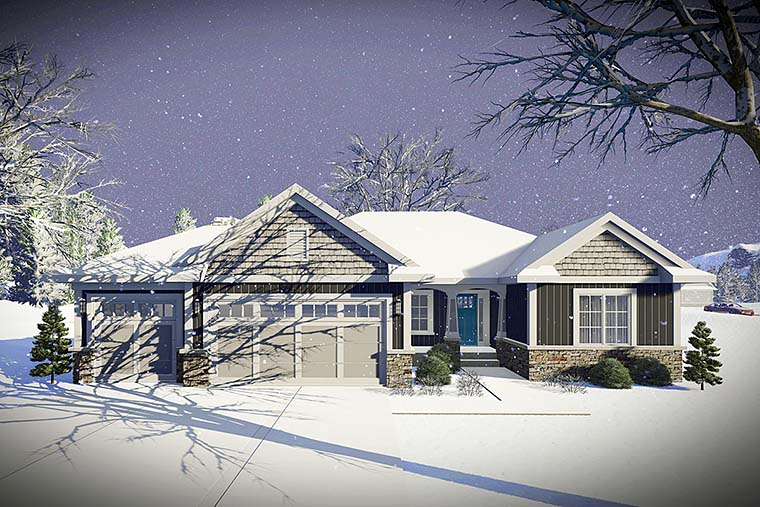 Cottage, Craftsman, Ranch, Traditional House Plan 75429 with 2 Beds , 2 Baths Elevation