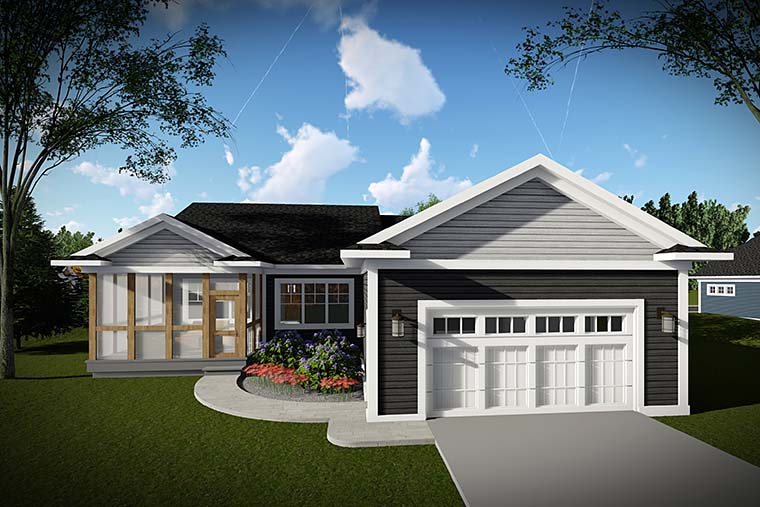 Cottage Country Craftsman House Plan 75430 Rear Elevation