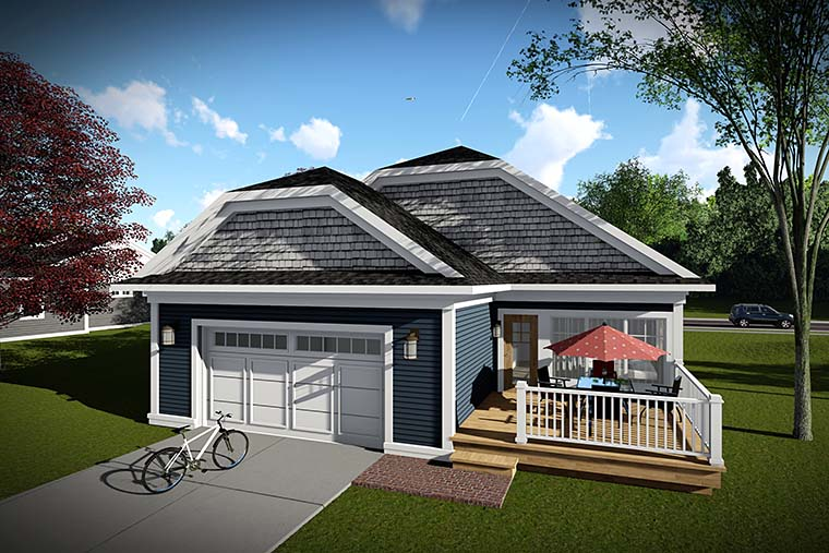 Cottage, Country House Plan 75431 with 2 Beds, 2 Baths, 2 Car Garage Rear Elevation