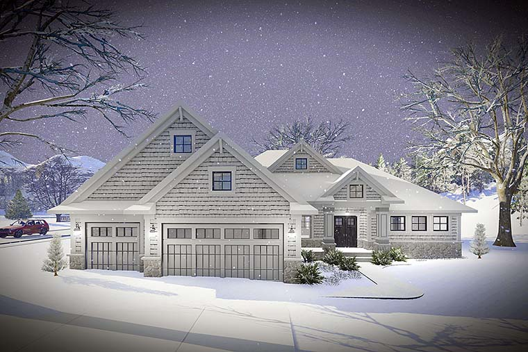 Cottage Country Craftsman Elevation of Plan 75432