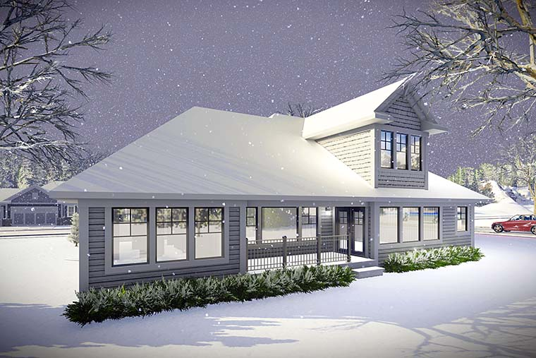Cottage Country Craftsman Rear Elevation of Plan 75432