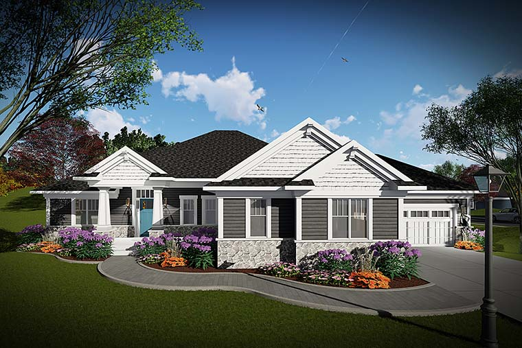 Cottage, Craftsman, Prairie Style House Plan 75433 with 2 Beds, 3 Baths, 3 Car Garage Elevation