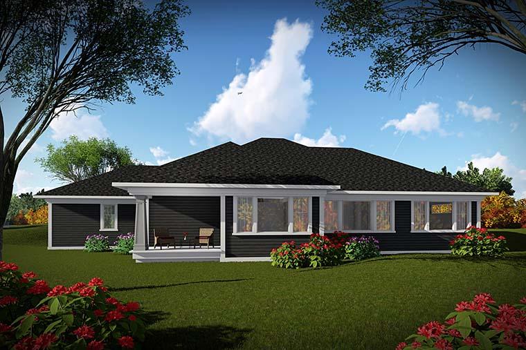 Cottage, Craftsman, Prairie House Plan 75433 with 2 Beds, 3 Baths, 3 Car Garage Rear Elevation