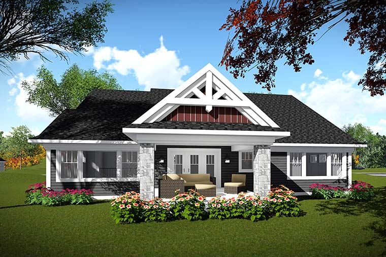 Bungalow Cottage Craftsman House Plan 75435 Rear Elevation