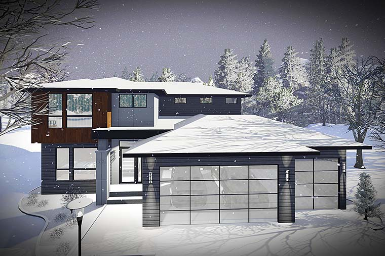 Contemporary , Modern House Plan 75437 with 3 Beds, 3 Baths, 2 Car Garage Elevation