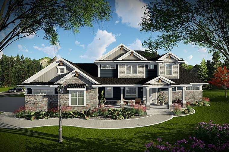 Traditional, Craftsman, Country, House Plan 75441 with 4 Beds, 4 Baths, 4 Car Garage