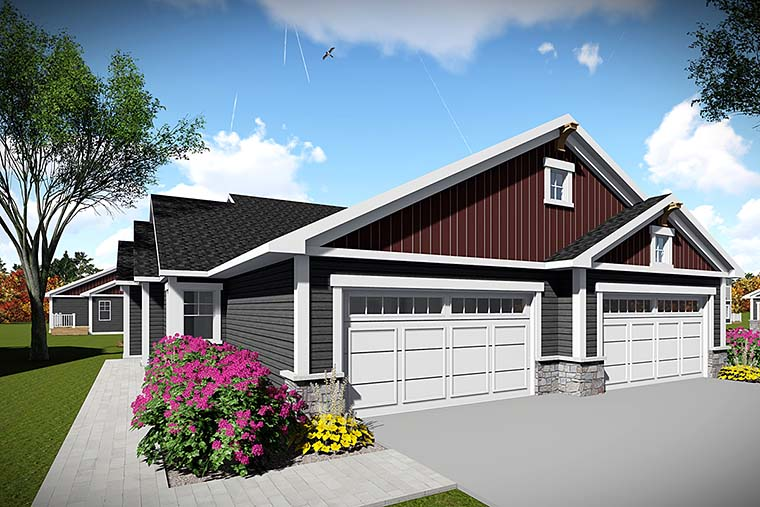 Country, Craftsman Multi-Family Plan 75443 with 4 Beds, 4 Baths, 4 Car Garage Elevation