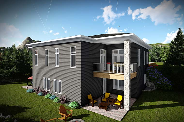 Multi-Family Plan 75445 | Modern Style Multi-Family Plan with 4504 Sq Ft, 6 Bed, 6 Bath, 4 Car Garage Rear Elevation