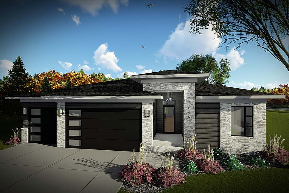 House Plan 75448 | Modern Ranch Style Plan with 1484 Sq Ft, 2 Bedrooms, 2 Bathrooms, 3 Car Garage Elevation