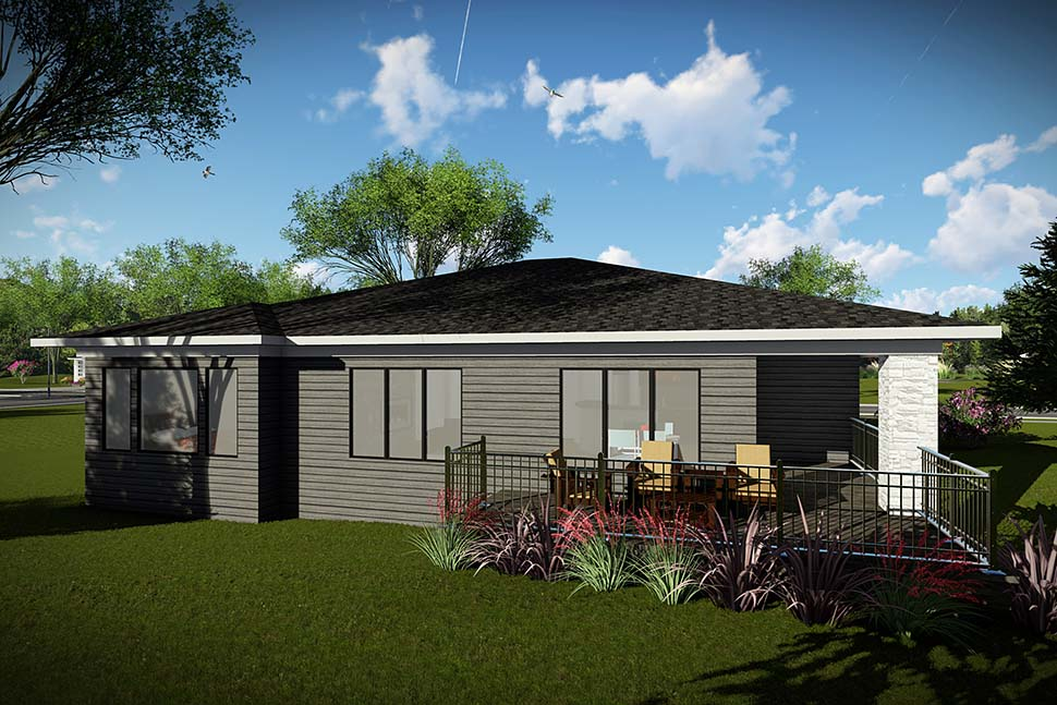 Modern, Ranch House Plan 75448 with 2 Beds , 2 Baths , 3 Car Garage Rear Elevation
