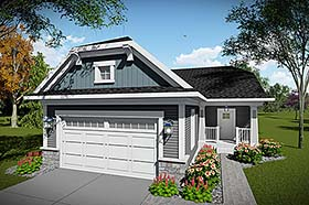House Plan 75449 | Craftsman Style Plan with 1490 Sq Ft, 2 Bedrooms, 2 Bathrooms, 2 Car Garage Elevation