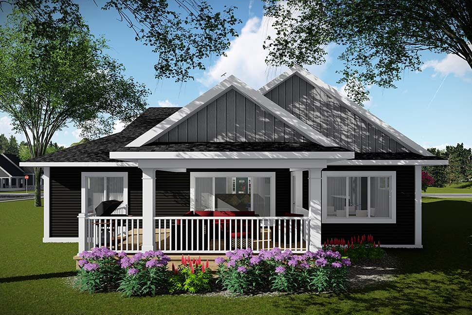Craftsman , Ranch , Traditional House Plan 75451 with 2 Beds, 2 Baths, 3 Car Garage Rear Elevation