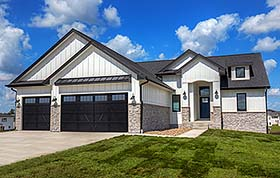 Craftsman , Ranch , Traditional House Plan 75454 with 3 Beds, 2 Baths, 3 Car Garage Elevation