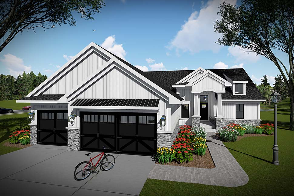 Craftsman, Ranch, Traditional House Plan 75454 with 3 Beds, 2 Baths, 3 Car Garage Picture 1