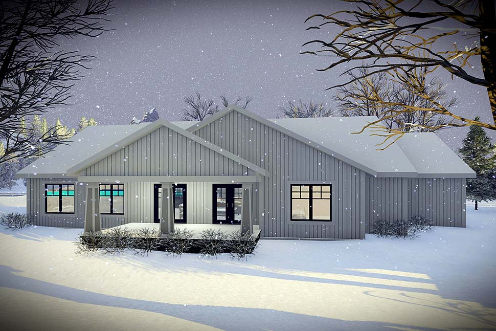 House Plan 75456 | Craftsman Farmhouse Modern Ranch Traditional Style Plan with 1921 Sq Ft, 3 Bedrooms, 2 Bathrooms, 3 Car Garage Rear Elevation