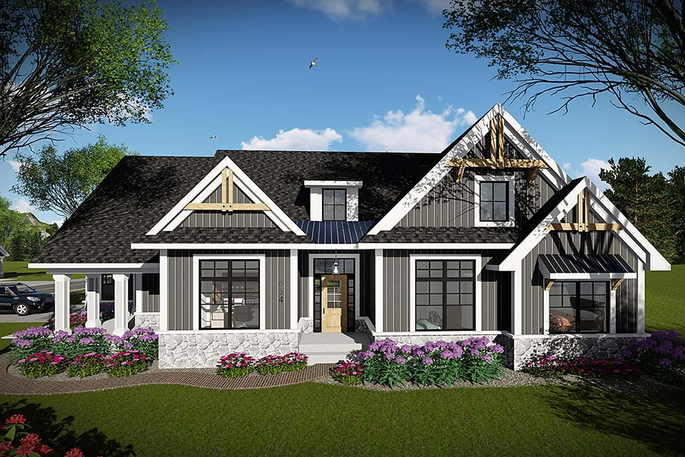 House Plan 75457 | Craftsman Ranch Style Plan with 1958 Sq Ft, 3 Bedrooms, 2 Bathrooms, 2 Car Garage Elevation