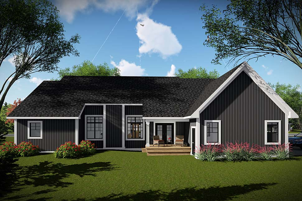 House Plan 75457 | Craftsman Ranch Style Plan with 1958 Sq Ft, 3 Bedrooms, 2 Bathrooms, 2 Car Garage Rear Elevation