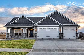 Craftsman , Traditional House Plan 75458 with 3 Beds, 2 Baths, 3 Car Garage Elevation