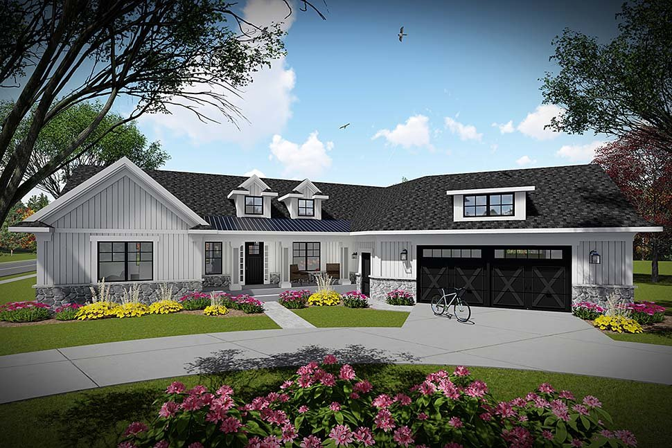 Farmhouse Ranch Elevation of Plan 75459