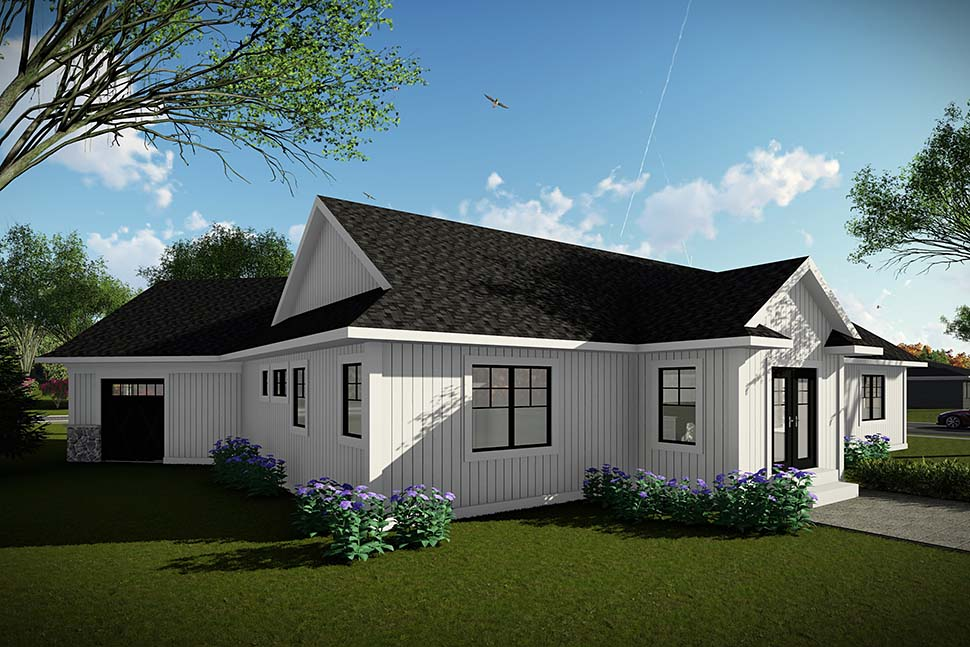 Farmhouse Ranch Rear Elevation of Plan 75459