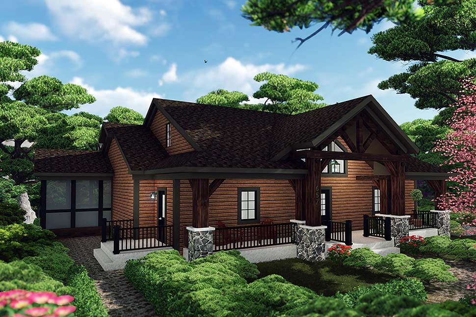 Cabin , Craftsman House Plan 75460 with 3 Beds, 3 Baths Elevation